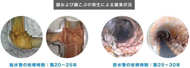 錆および錆こぶの発生による腐食状況